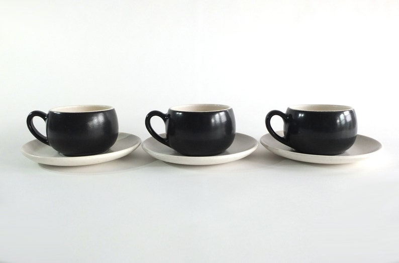 Metlox Poppytrail California Contempora Cups and Saucers Mid-Century Modern Set of 3