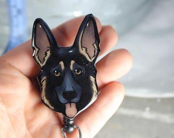 German Shepherd Retractable ID Badge holder for prepunch badges 33 inch cord CNA HCA Housekeeping veterinarian Nurse Dog lover gift & German shepherd | Etsy