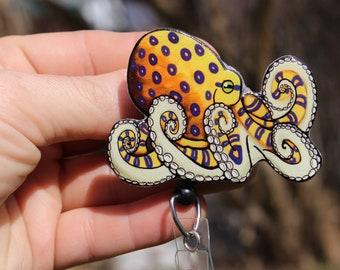 Octopus badge holder Blue sparkly badge holder Octopus gift Octopus badge OCTOPUS fabric lanyard