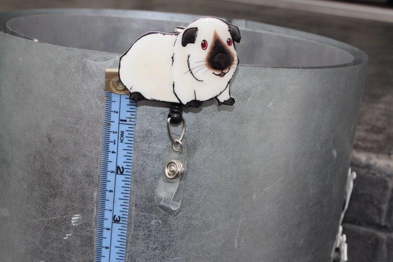 vet techs cute animal badge reels nurses veterinarians zookeepers Guinea Pig badge Reel ID holder: Retractable gift for cavi lovers