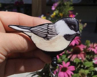 Chickadee Badge Reel ID holder: Gift for Nurses, zookeepers, vet techs, veterinarian bird lovers loss memorial Bird animal badge reels