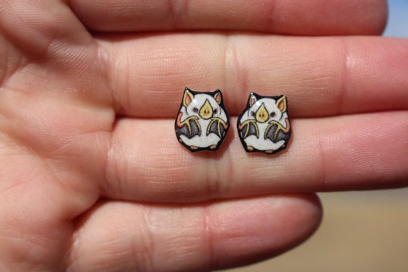 teacher zookeeper Cute animal earrings surgical stainless steel Cotton Bat stud Earrings: gift for honduran white bat lovers vet tech