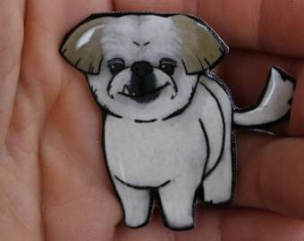 Pekingese Magnet: Great gift for car locker or fridge great gift for white dog lovers