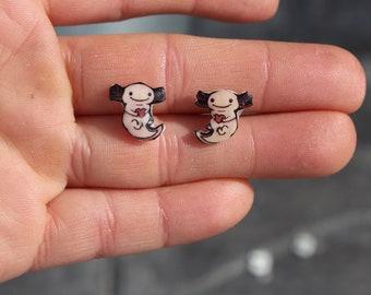 axolotl earrings : Surgical Steel Studs Great for sensitive ears gift for salamander lovers axolotl loss memorial