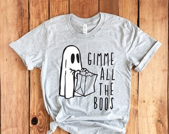 Gimme All the Boos Short-Sleeve Unisex T-Shirt - All the Booze Funny Halloween Punny Pun Ghost Trick or Treat Adult Party Day Drinking