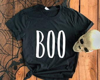 Boo Short-Sleeve Unisex T-Shirt - Minimalist Modern Design Dark Halloween T-Shirt