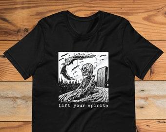 Lift Your Spirits Short-Sleeve Unisex T-Shirt-Supernatural Skeleton Undead Horror Occult Moon Paranormal Mystical Danse Macabre Memento Mori