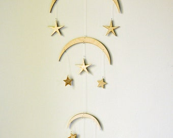 Stargazing Nursery Room, Baby Mobile featuring Stars and our New Moon Hanger by Annex Suspended Art