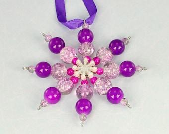 Purple beaded snowflake, Christmas decoration, Christmas ornament, purple tree decoration, purple ornament