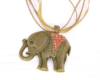 Elephant necklace, elephant pendant, bronze elephant, animal lover, wildlife, animal pendant, elephant gift, boho
