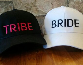 Personalized Bride Tribe Wedding Baseball Cap/ Black and White Hat