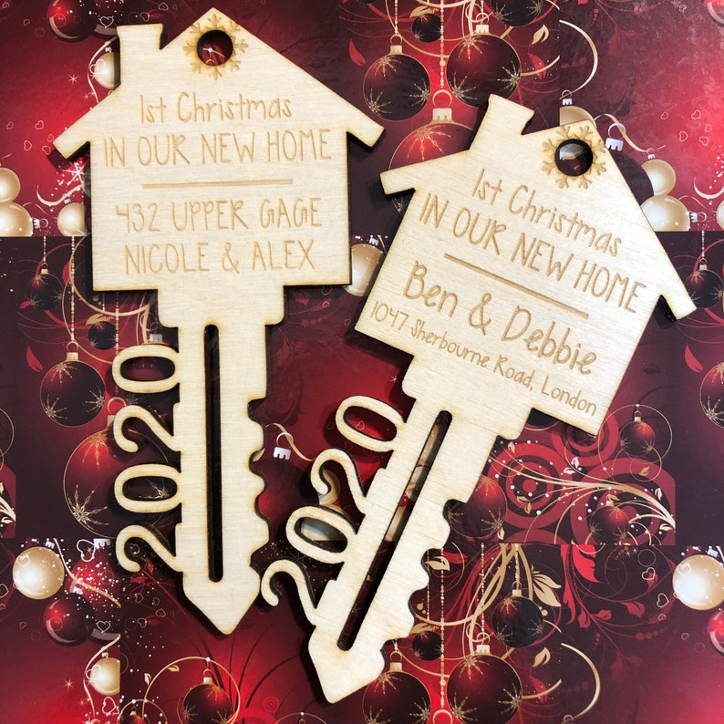 Wooden Custom New Home Christmas Ornament  Hand Painted  Laser Cut  First Christmas  Holiday  Tree Decoration  Canada  Name  Couple