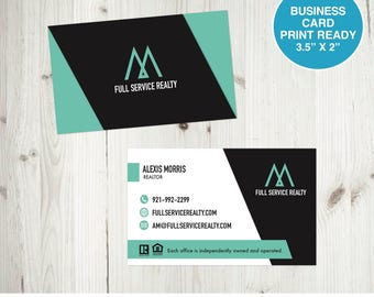 Real estate business cards etsy realtor business card real estate business card realtor business card ready to print custom business card digital file reheart Choice Image