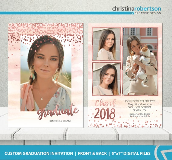 Graduation Announcement Senior Graduation Invitation Rose Etsy