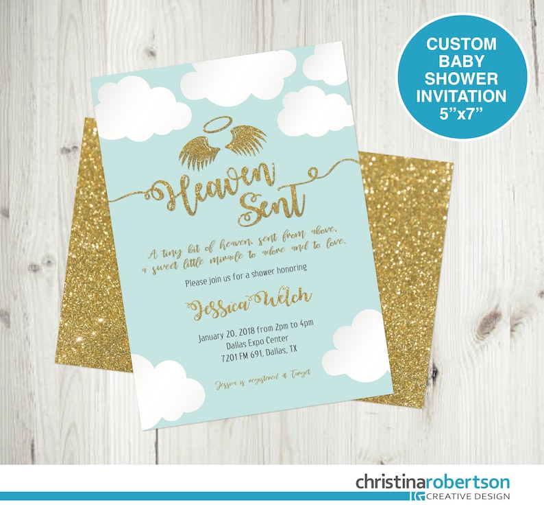 Heaven Sent Baby Shower Invitation Angel Theme Baby Shower Etsy