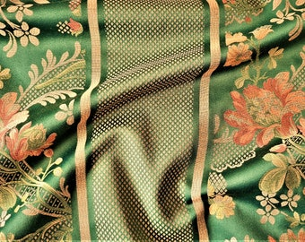 Green silk damask fabric- Fabulous silk brocade  lampas fabric-100 x 280cm, floral upholstery fabric by the yard, exclusive quality fabric