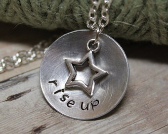 """Hamilton inspired """"rise up"""" Necklace - Inspirational - Jewelry - Not Throwing Away My Shot - Broadway Musical Theater Fan - Gift"""