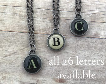 Initial Necklace - Typewriter Key (style) - A to Z - Letter - Alphabet - Jewelry - Name - Custom - Gift - Personalized