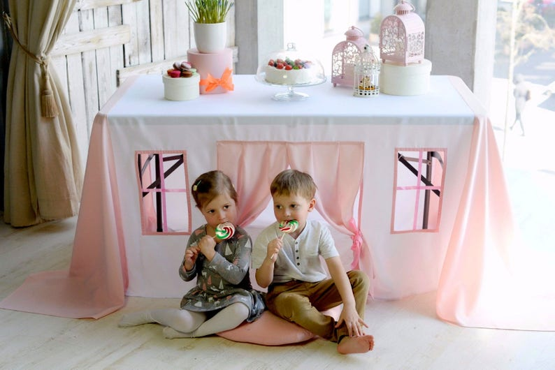 huge selection of 5c781 daffc Pink tablecloth house - Table tent for kids - Kids playhouse - Birthday  tablecloth - Baptism table decoration - Children play house - Fort