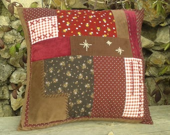 cushion in patchwork velvet embroidered 50 x 50