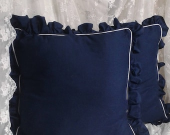 Pillow Navy Blue and white ruffle