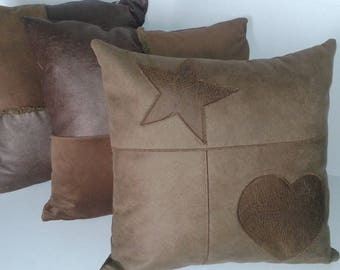 Star cushion mountain or western faux leather heart with its 40 x 40