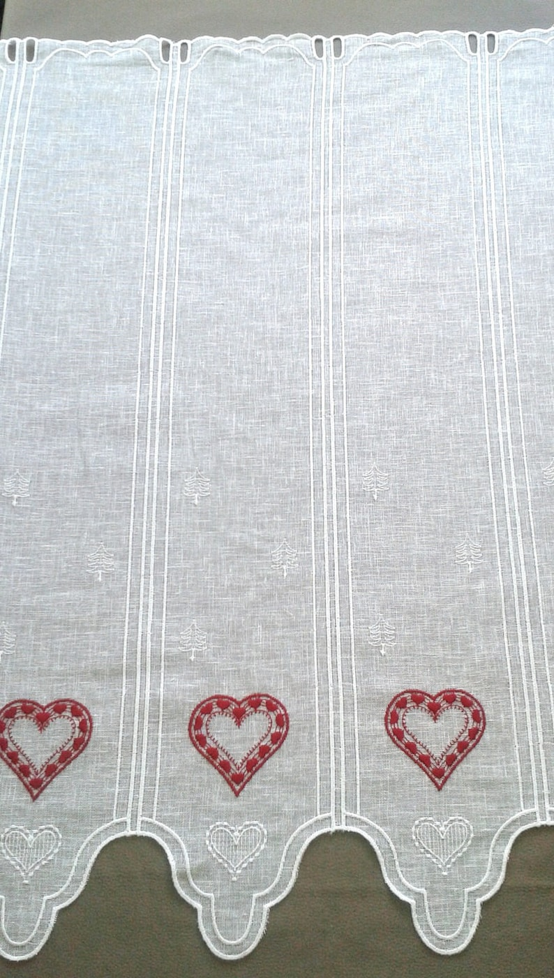 white linen embroidery red hearts scalloped breeze curtain