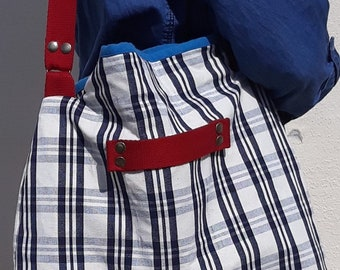 Navy and white Plaid canvas tote bag