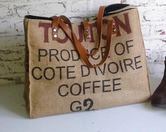 recycled coffee bag tote bag