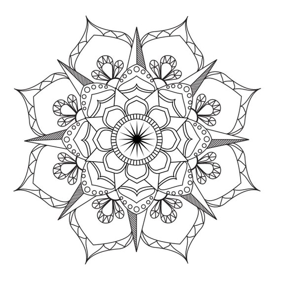 - Flower Mandala-Coloring Page-Adult Coloring-art-therapy-pdf Etsy