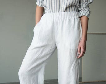 White linen wide leg  pants with elastic waist, loose fit pants, linen trousers, summer linen pants, comfortable pants, linen harem pants