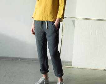 Dark blue women linen pants, loose fit linen trousers, summer linen pants, women linen pants, pants without zipper, jogging pants