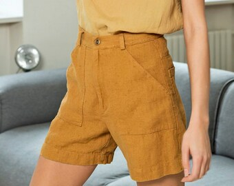 Linen shorts, festival shorts, high waisted shorts with patch pockets ISLAND