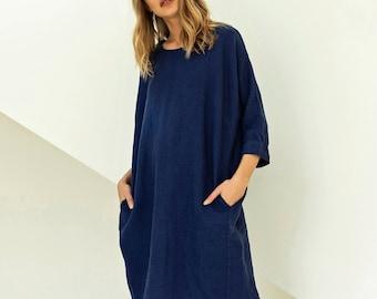 Winter dress, oversized dress, kimono dress from heavy linen, linen midi dress STUDIO