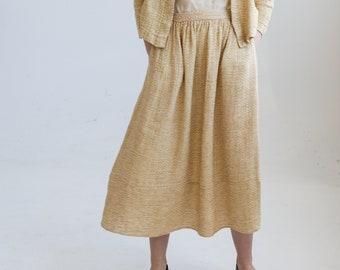 Yellow linen maxi skirt, linen long skirt MEADOW