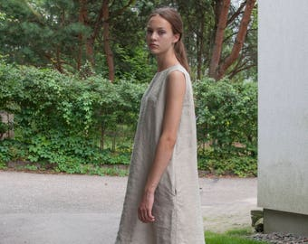 Sleeveless natural linen dress with pockets, loose linen dress, midi linen dress, loose linen tunic, dress with belt, plus size dresses