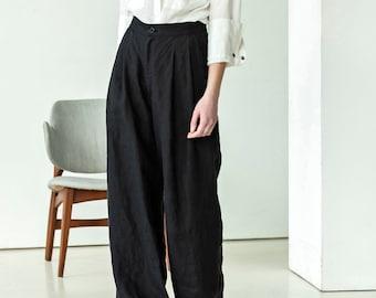 c600d9a23ff8 NEW Black palazzo trousers | black linen pants | High waist linen trousers  | Wide leg linen trouser