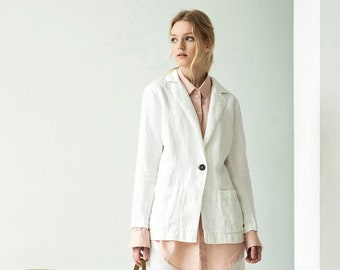 4665e6caaa NEW Loose white jacket with pockets from heavy linen