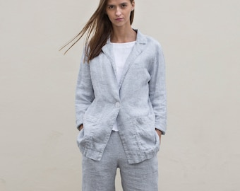 ef4b8f4a24 NEW Loose striped jacket with pockets from Lithuanian linen