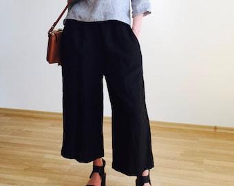 Black wide leg linen capris with elastic waist, black linen pants for women, loose fit pants, plus size trousers, black trousers,