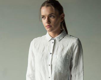White linen shirt, classic collar shirt, womens linen shirt, linen shirt, white linen shirt, classic linen shirt, slim fit shirt