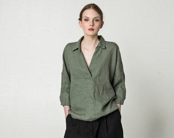 NEW Linen blouse, linen shirt, women's shirt, long sleeve shirt, buttonless shirt, women's blouse, linen tunic, long sleeve tunic, linen top