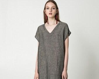 8e6713840c Boxy linen dress with pockets   short sleeve linen tunic dress   midi  kimono dress   V-neck linen dress