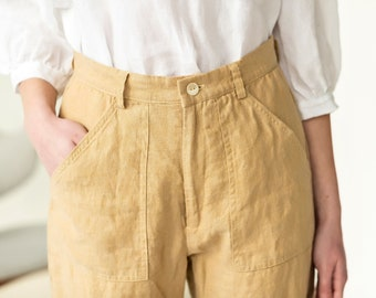 High waisted linen pants, wide leg linen pants, culotte pants, linen crop pants