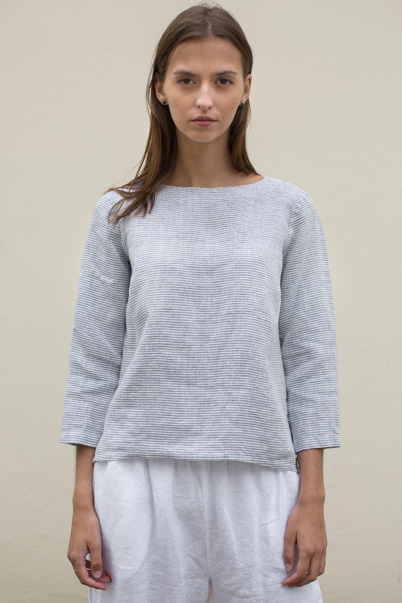white linen top white linen blouse NEW White linen shirt with long sleeves long sleeve linen tee light summer top