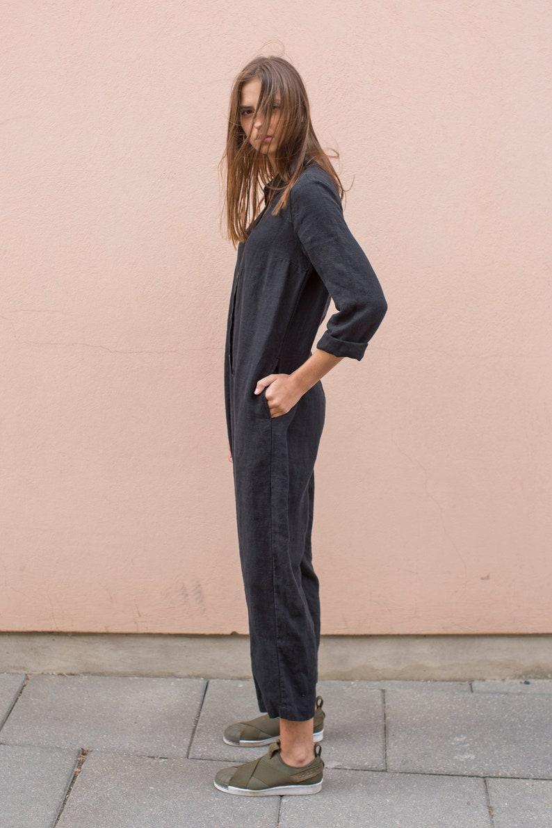 39383eaf93ca NEW Long sleeve black linen jumpsuit. Loose fit