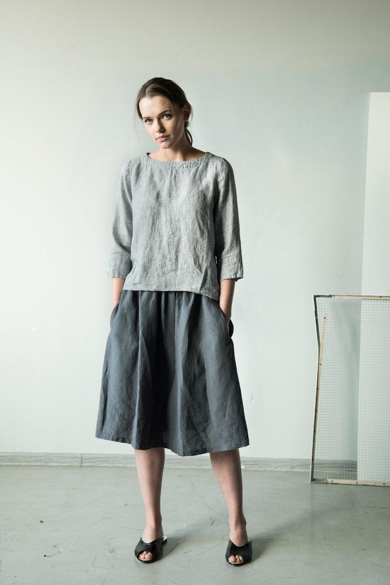 10f87b6cb81ce Knee length linen skirt with pockets linen skirt grey | Etsy
