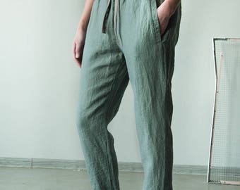 Light green women linen pants with waistband, loose fit linen trousers, summer linen pants, harem pants, women linen pants