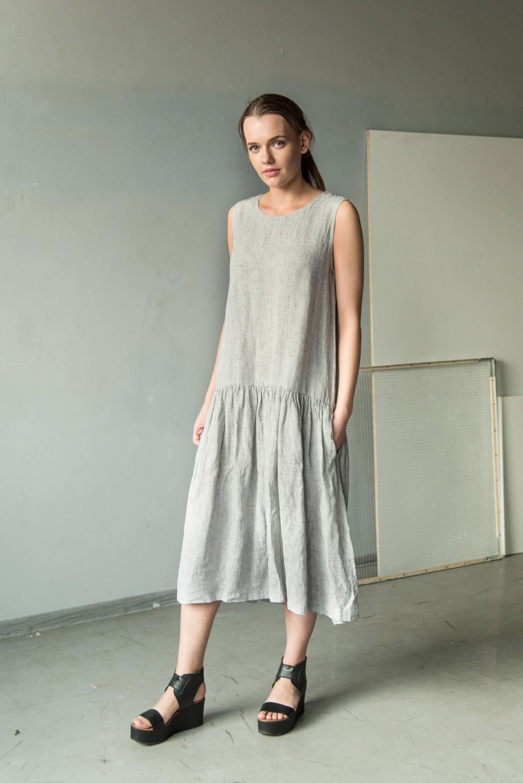 Long Linen Dress Loose Linen Tunic Grey Loose Dress Plus