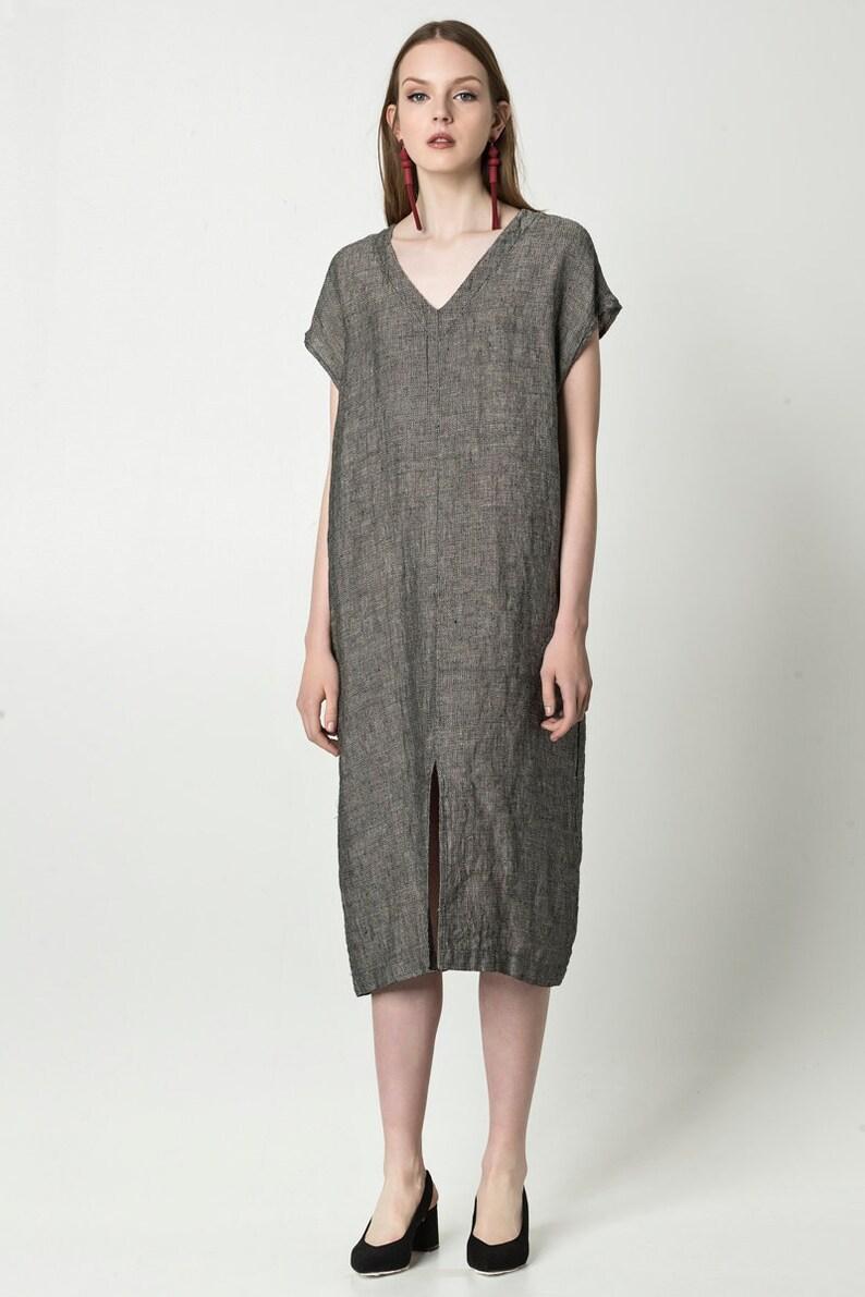 43bad41c9623cd Boxy linen dress with pockets / short sleeve linen tunic dress | Etsy